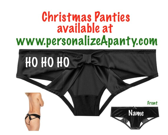 Personalize Ho Ho Ho black Victoria Secret Very Sexy Strappy Mesh Bow Cheeky Panty * FAST SHIPPING * Christmas Lingerie | Stocking Stuffer