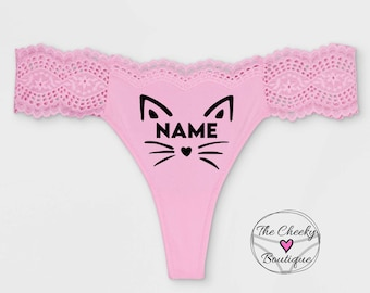 Personalized Pussy Cat Thong Panties * FAST SHIPPING * More Colors & Plus Size Options * Girlfriend Wife Husband's Gag Gift Fun Underwear