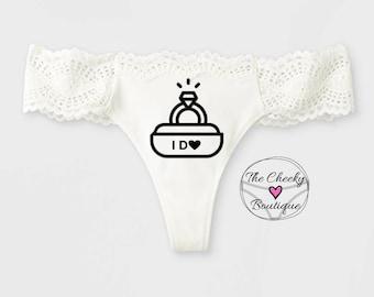 Personalized White Bridal Thong, monogrammed thong, I DO personalized thong, wedding underwear, bridal gift, bridal panty, wedding lingerie