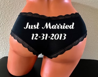 Personalized Wedding Date Panties | Custom Bride Panties | Bachelorette Party Gift | Plus Size Options Available | Gift For The Couple