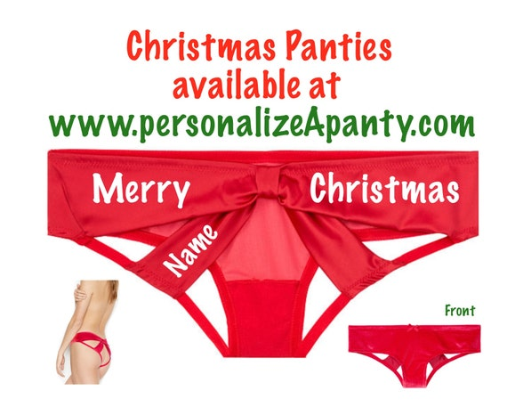Personalize a Merry Christmas red Victoria Secret Very Sexy Strappy Mesh Bow Cheeky Panty * FAST SHIPPING * Sexy Christmas Lingerie