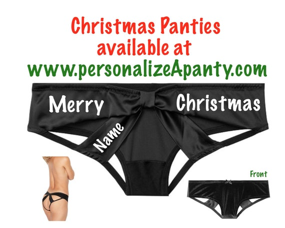 Personalize a Merry Christmas black Victoria Secret Very Sexy Strappy Mesh Bow Cheeky Panty * FAST SHIPPING * Sexy Christmas Lingerie