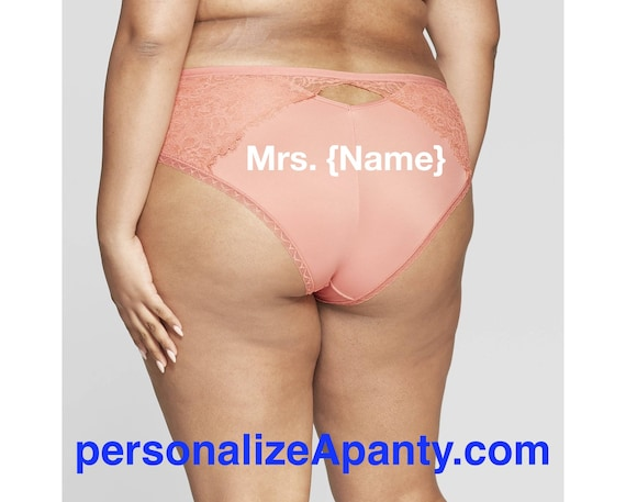 Personalize a Mrs. {Name} Women's Plus Size Micro Rose Cheeky with Lace  * FAST SHIPPING *
