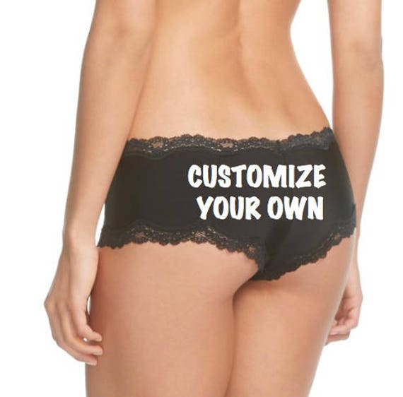Custom Black Panties FAST SHIPPING Personalized for a You or a Bride to Be