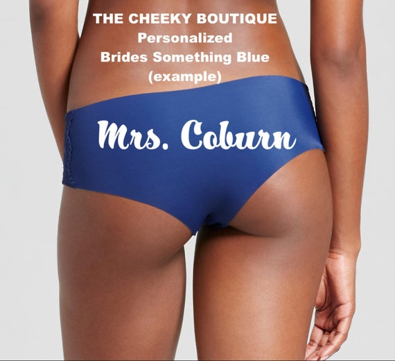 Customize this blue panty for you or a bride to be * FAST SHIPPING * Bridal Shower Panties, Personalized Panties, Custom Underwear