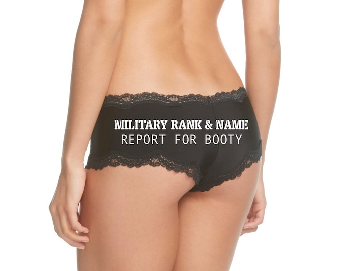 Featured listing image: Personalize a Military Rank and Name Report For Booty Cheeky Black Panty * FAST SHIPPING * NEW Plus Size Options