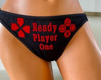 Ready Player One Black Women's Vanity Fair String Bikini Panty * FAST SHIPPING * Plus Size Options XS - 4X | Playstation Panties