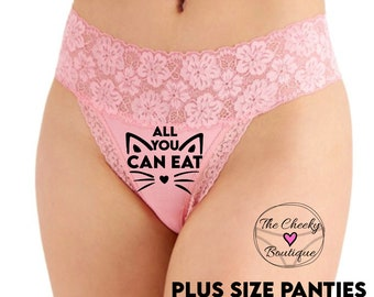 All You Can Eat Pink Pussy Cat Plus Size Wide Lace Waist Thong Underwear  * FAST SHIPPING * - Sizes 1L, 2XL, 3XL   Fun Underwear, Sexy Panty