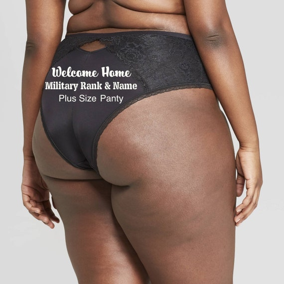Military Rank and Name Welcome Home Plus Size black cheeky panty * FAST SHIPPING * Army + Navy + Marines + Air Force + Coast Guard