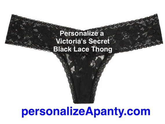 Personalize a Victoria Secret Lace Black Thong  * FAST SHIPPING * Wife, Girlfriend, Bridal Shower Gift, Gift for Him, Bachelorette Gift