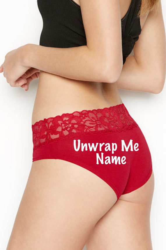 Unwrap Me red Victoria Secret Personalized Panty * FAST SHIPPING * Christmas Lingerie | Stocking Stuffer Idea | Gift for Him | Underwear