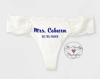 Personalized White Bridal Thong, monogrammed thong, brides something blue, wedding underwear, bridal gift, bridal panty, wedding lingerie