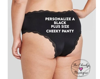 Personalized Panties Plus Size Black Cheeky with Lace Trim * FAST SHIPPING * - Sizes X, XL, 2XL, 3XL and 4XL