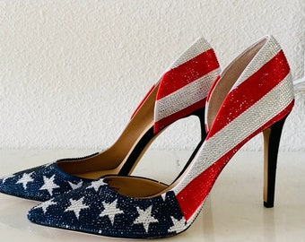 Womens Sparkling American Flag Pumps | 3-3/4 in wrapped stiletto heel | These Are Show Stoppers | Patriotic Heels | Sexy Military Ball Heels