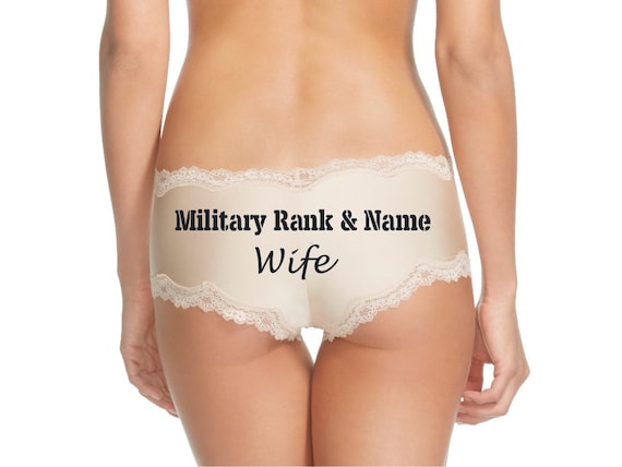 Personalize a Military Rank and Name Wife Nude Cheeky Panty * FAST SHIPPING * Surprise Your Soldier When They Return Home