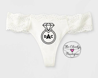 Personalized White Bridal Thong with initials, monogrammed thong, wedding underwear, bridal gift, bridal panty, wedding lingerie