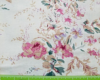 Pink Floral Fabric, Pink Floral Cotton Fabric, Pink Flowered Cotton Fabric