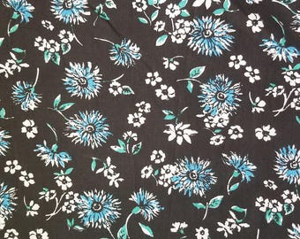 Blue and White Cotton Blend Fabric, Shason Blue and White Poly Cotton Blend Floral Fabric