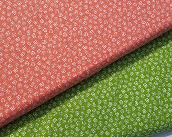 Daisy Fabric, Floral Fabric, Daisies, Green Daisy-Coral or Green Cotton Fabric