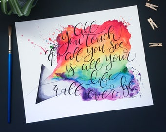 Breathe Pink Floyd Lyrics And Watercolor Printed On A Cushion Etsy