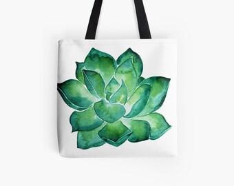 7a3c1a24f8 Tote bag succulent watercolor print - Reusable grocery bag - shoulder bag  Eco friendly - botanical print watercolor shopping bag