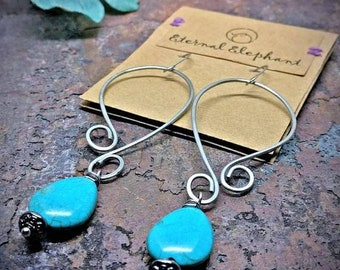 Turquoise Earrings, Extra Long Earrings, Silver Boho Earrings, Blue Dangle Earrings, Hammered Metal Earrings, Bohemian, Gypsy Jewelry