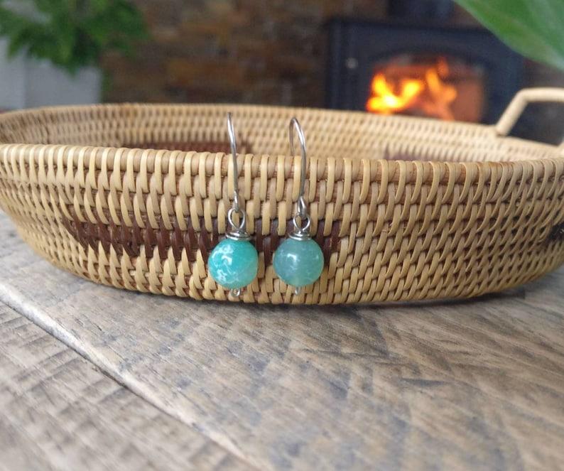 Gemstone Earrings Dangle  Boho Earrings  Blue Dangle Earrings  Gemstone Jewelry  Simple Gemstone Earrings  Dainty Gemstone Earrings