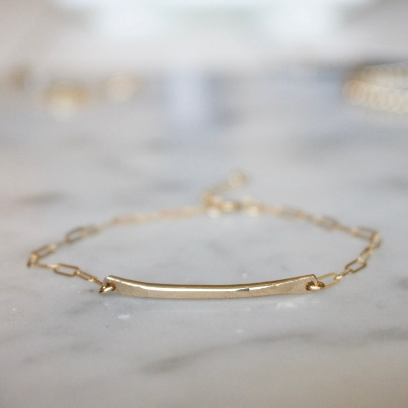 15cba6b51 Gold Bar Bracelet Gold Filled Bar Bracelet Curved Bar | Etsy