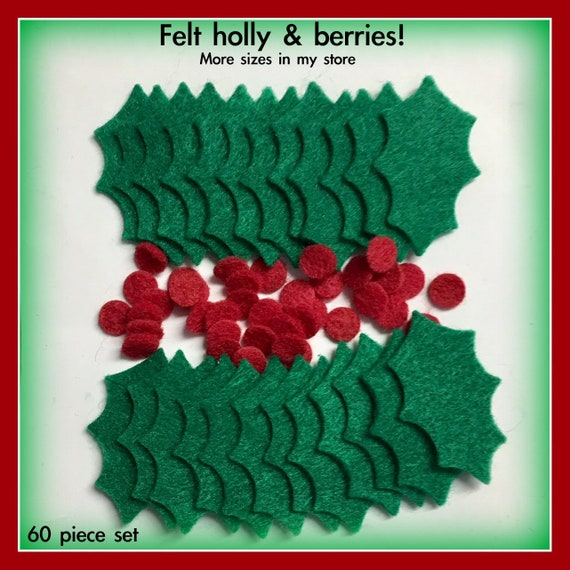 10 25 or 50 Christmas Holly /& Berry Leaves Card Craft Embellishment Appliques
