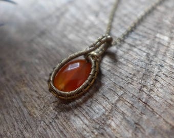 Carnelian and wire wrapped pendant
