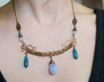 Blue apatite, chalcedony, wire wrapped necklace