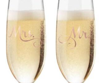 Mr. & Mrs. Champagne Flutes