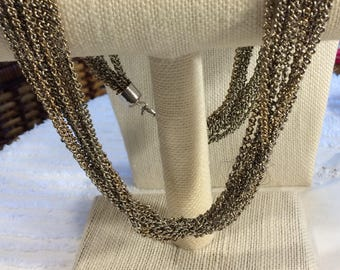 Silvertone Vintage Multistrand Chain Necklace