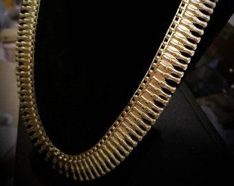 Art Deco Egyptian Collar Style Brass Necklace