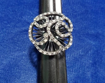 7.5 Princess /& Round Shape Vintage PD Primere Designs Sterling And CZ Coctail Ring