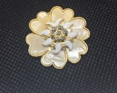 West Germany Vintage Lucite and Enamel Flower Scarf Clip