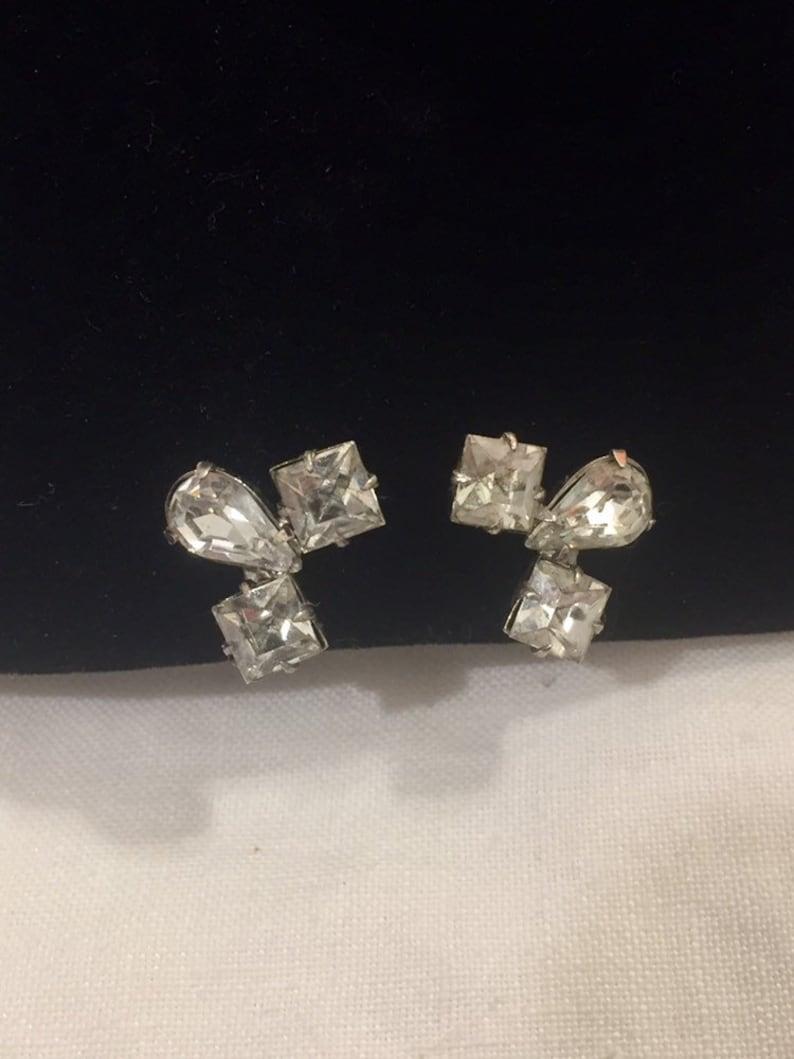 Coro Sterling and Clear Rhinestone Crystal Screw Back Earrings