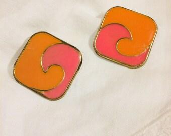Vintage Mod Orange n Pink Enamel Post Earrings