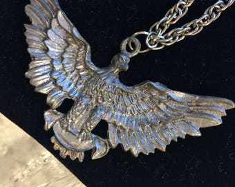 Vintage Pewter Bald Eagle Pendant Necklace
