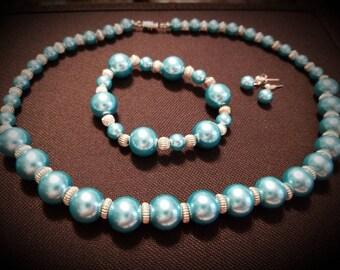 Vintage Blue Luminous Glass Beads Parure Necklace Bracelet Earrings