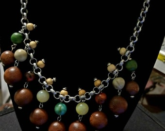 Vintage Wood and Lucite Beaded Dangling Necklace