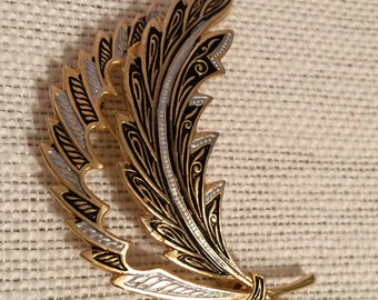 Damascene Feather Brooch Marked Spain
