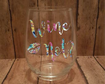Wine Not, Personalized Stemless Wine Glass, Customized Stemless Wine Glass With Patterned or Solid Vinyl, Wine Glass, Glass, Custom Glass