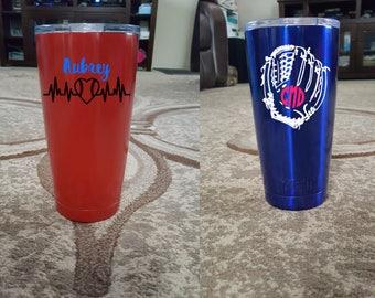 YETI Insulated Tumbler, Colored Yeti Cup, Customized Cup, Personalized Tumbler, Custom Yeti Cup, Personalized Gift, Baseball Monograms, Gift