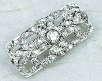 Antique Art Deco Platinum and Diamond Pin Brooch