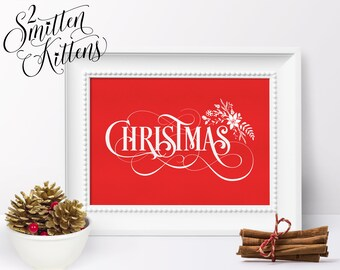 Christmas Printable Art, Calligraphy Typography Christmas Art Print Wall Art Christmas Printable Sign Decor, Instant Download, FANCYX