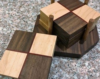 Set of 4 Table Coasters with stand : Walnut, Maple and Padauk