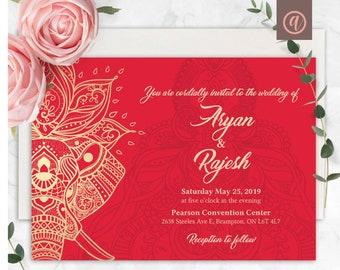 Hindu Wedding Invite Etsy
