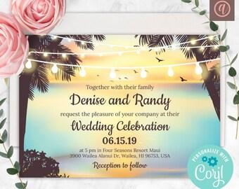 Beach Wedding Invitation Corjl Template Destination