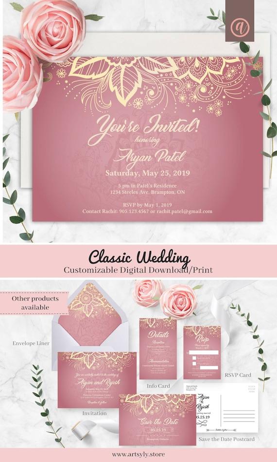 Classic Wedding Invitation Digital Download Indian Wedding | Etsy